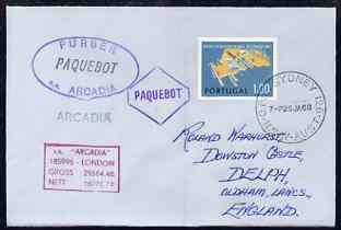 Portugal used in Sydney (New South Wales) 1968 Paquebot cover to England carried on SS Arcadia with various paquebot and ships cachets