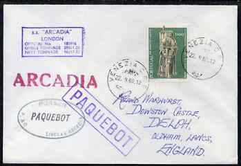 Portugal used in Venice (Italy) 1969 Paquebot cover to England carried on SS Arcadia with various paquebot and ships cachets
