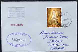Portugal used in Durban (South Africa) 1968 Paquebot cover to England carried on SS Arcadia with various paquebot and ships cachets