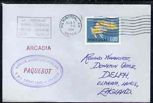 Portugal used in Wilmington (California) 1968 Paquebot cover to England carried on SS Arcadia with various paquebot and ships cachets