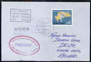 Portugal used in Kobe (Japan) 1968 Paquebot cover to England carried on SS Arcadia with various paquebot and ships cachets