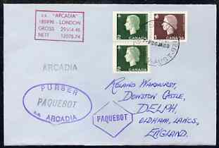 Canada used in Sydney (New South Wales) 1968 Paquebot cover to England carried on SS Arcadia with various paquebot and ships cachets