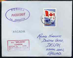 Canada used in Lisbon (Portugal) 1967 Paquebot cover to England carried on SS Arcadia with various paquebot and ships cachets