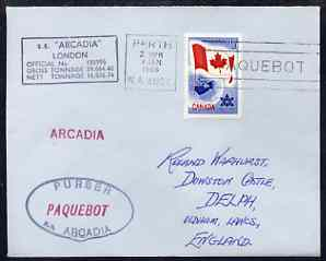 Canada used in Perth (Western Australia) 1968 Paquebot cover to England carried on SS Arcadia with various paquebot and ships cachets