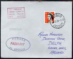 Australia used in Durban (South Africa) 1968 Paquebot cover to England carried on SS Arcadia with various paquebot and ships cachets