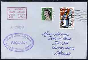 Australia used in Agana (Guam) 1968 Paquebot cover to England carried on SS Arcadia with various paquebot and ships cachets