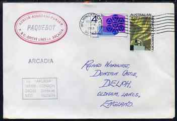 Australia used in Wilmington (California) 1968 Paquebot cover to England carried on SS Arcadia with various paquebot and ships cachets
