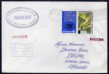 Australia used in Honolulu (Hawaii) 1968 Paquebot cover to England carried on SS Arcadia with various paquebot and ships cachets