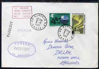 Australia used in Ajaccio (Corsica) 1968 Paquebot cover to England carried on SS Arcadia with various paquebot and ships cachets