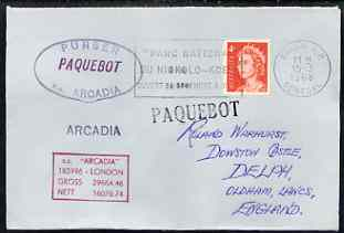 Australia used in Dakar (Senegal) 1968 Paquebot cover to England carried on SS Arcadia with various paquebot and ships cachets