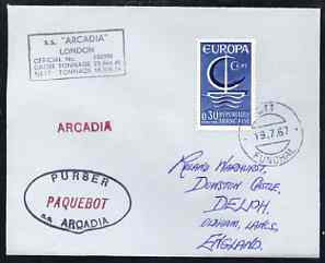 France used in Funchal (Portugal) 1968 Paquebot cover to England carried on SS Arcadia with various paquebot and ships cachets