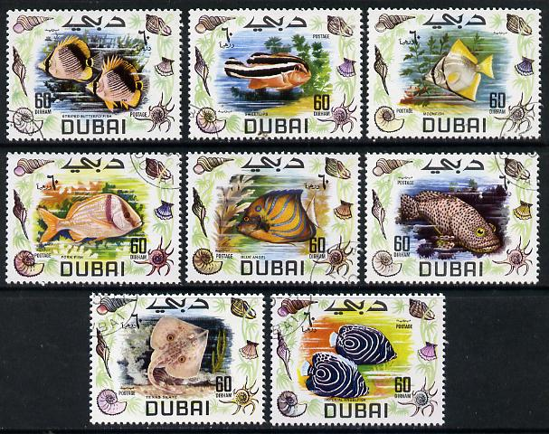 Dubai 1969 Fish cto set of 8, SG 329-36*