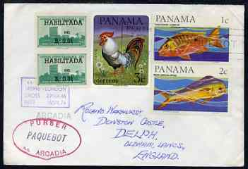 Panama used in Perth (Western Australia) 1968 Paquebot cover to England carried on SS Arcadia with various paquebot and ships cachets