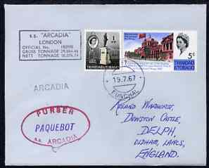 Trinidad & Tobago used in Funchal (Portugal) 1967 Paquebot cover to England carried on SS Arcadia with various paquebot and ships cachets