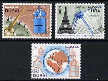 Dubai 1971 Outer Space Telecommunications Congress perf set of 3 fine cto used, SG 374-76*