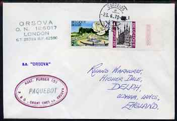 Belgium used in Lisbon (Portugal) 1970 Paquebot cover to England carried on SS Orsova with various paquebot and ships cachets