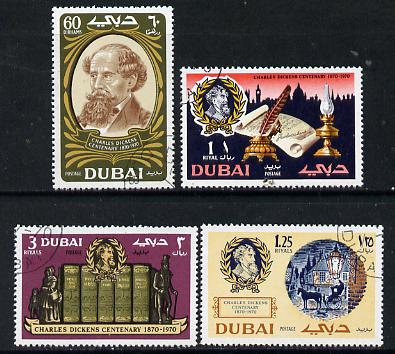 Dubai 1970 Death Centenary of Charles Dickens perf set of 4 superb used, SG 355-58*