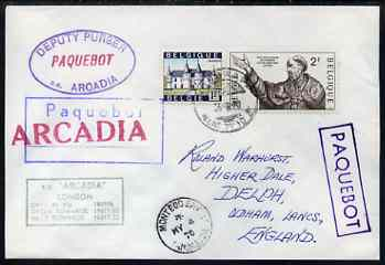 Belgium used in Montego Bay (Jamaica) 1970 Paquebot cover to England carried on SS Arcadia with various paquebot and ships cachets