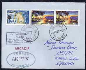 French Polynesia used in Cape Town (South Africa) 1968 Paquebot cover to England carried on SS Arcadia with various paquebot and ships cachets