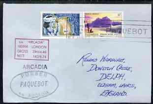 French Polynesia used in Perth (Western Australia) 1968 Paquebot cover to England carried on SS Arcadia with various paquebot and ships cachets