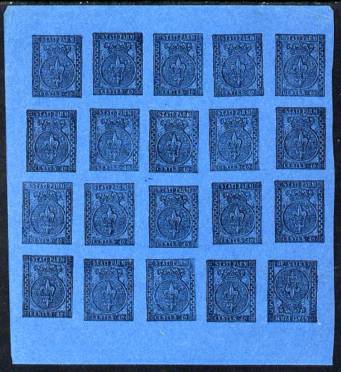 Italy - Parma 1852 issue Spiro Forgery complete imperf sheet of 25 x 40c black on blue