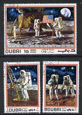 Dubai 1969 Man on the Moon cto set of 3, SG 346-48*