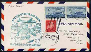 United States 1949 First Flight cover to Switzerland (New York to Zurich) with special FAM 27 cachet