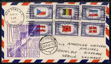 United States 1946 First Flight cover to Germany with special FAM 24 cachet