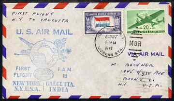 United States 1947 First Flight cover to Calcutta, India with special FAM 18 cachet