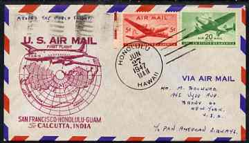 United States 1947 Round the World Flight cover San Francisco to Honolulu to Guam to Calcutta with special FAM 14 cachet