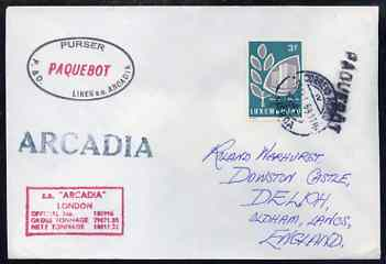 Luxembourg used in Lisbon (Portugal) 1968 Paquebot cover to England carried on SS Arcadia with various paquebot and ships cachets