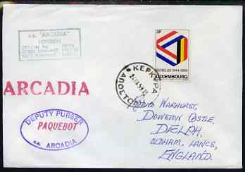 Luxembourg used in Greece 1969 Paquebot cover to England carried on SS Arcadia with various paquebot and ships cachets