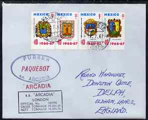 Mexico used in Lisbon (Portugal) 1967 Paquebot cover to England carried on SS Arcadia with various paquebot and ships cachets