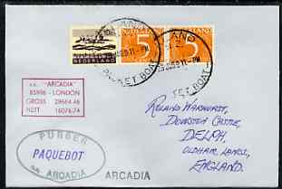 Netherlands used in Auckland (New Zealand) 1968 Paquebot cover to England carried on SS Arcadia with various paquebot and ships cachets