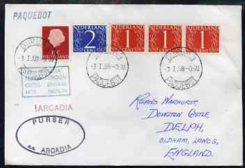 Netherlands used in Durban (South Africa) 1968 Paquebot cover to England carried on SS Arcadia with various paquebot and ships cachets