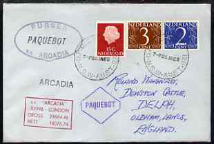 Netherlands used in Sydney (New South Wales) 1968 Paquebot cover to England carried on SS Arcadia with various paquebot and ships cachets