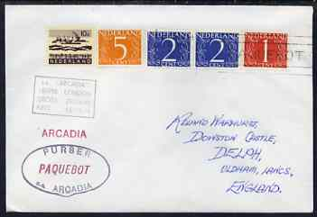 Netherlands used in Perth (Western Australia) 1968 Paquebot cover to England carried on SS Arcadia with various paquebot and ships cachets