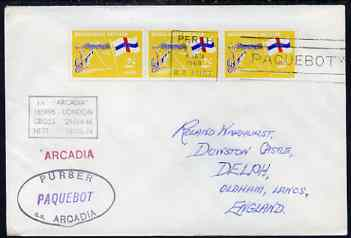 Netherlands Antilles used in Perth (Western Australia) 1968 Paquebot cover to England carried on SS Arcadia with various paquebot and ships cachets