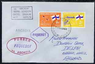 Netherlands Antilles used in Sydney (New South Wales) 1968 Paquebot cover to England carried on SS Arcadia with various paquebot and ships cachets