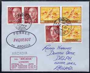 Spain used in Lisbon (Portugal) 1967/8 Paquebot cover to England carried on SS Arcadia with various paquebot and ships cachets