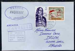Spain used in Kobe (Japan) 1968 Paquebot cover to England carried on SS Arcadia with various paquebot and ships cachets
