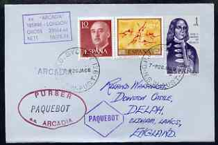 Spain used in Sydney (New South Wales) 1968 Paquebot cover to England carried on SS Arcadia with various paquebot and ships cachets
