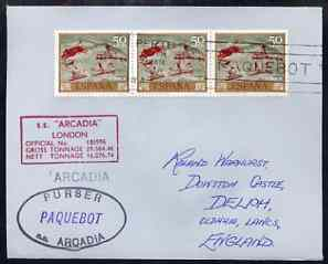 Spain used in Perth (Western Australia) 1968 Paquebot cover to England carried on SS Arcadia with various paquebot and ships cachets