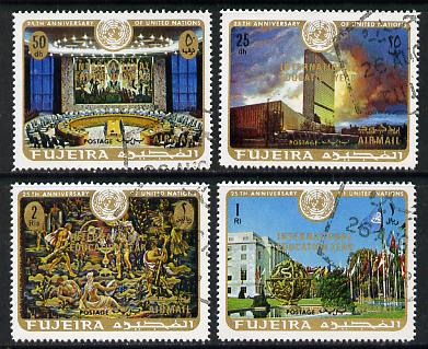 Fujeira 1970 United Nations 25th Anniversary opt'd Int Education Year cto set of 4, Mi 509-12*