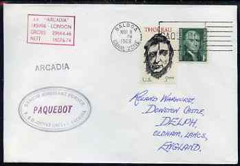 United States used in Balboa (Canal Zone) 1968 Paquebot cover to England carried on SS Arcadia with various paquebot and ships cachets