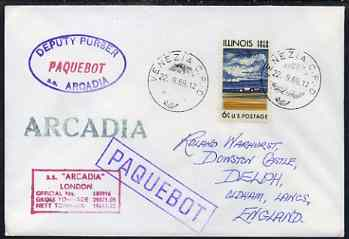 United States used in Venice (Italy) 1969 Paquebot cover to England carried on SS Arcadia with various paquebot and ships cachets