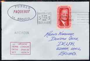 United States used in Brisbane (Queensland) 1968 Paquebot cover to England carried on SS Arcadia with various paquebot and ships cachets