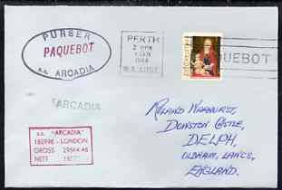 United States used in Perth (Western Australia) 1968 Paquebot cover to England carried on SS Arcadia with various paquebot and ships cachets