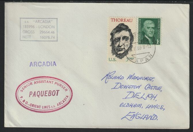 United States used in Yokohama (Japan) 1968 Paquebot cover to England carried on SS Arcadia with various paquebot and ships cachets