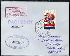United States used in Tenerife 1967 Paquebot cover to England carried on SS Arcadia with various paquebot and ships cachets